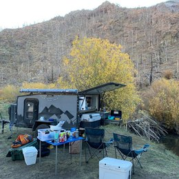 Our off-road trailer with the kitchen laid out during camping | Boreas Campers Homepage
