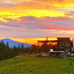 Our off-road camper trailer on mountain sunset background | Boreas Campers Homepage