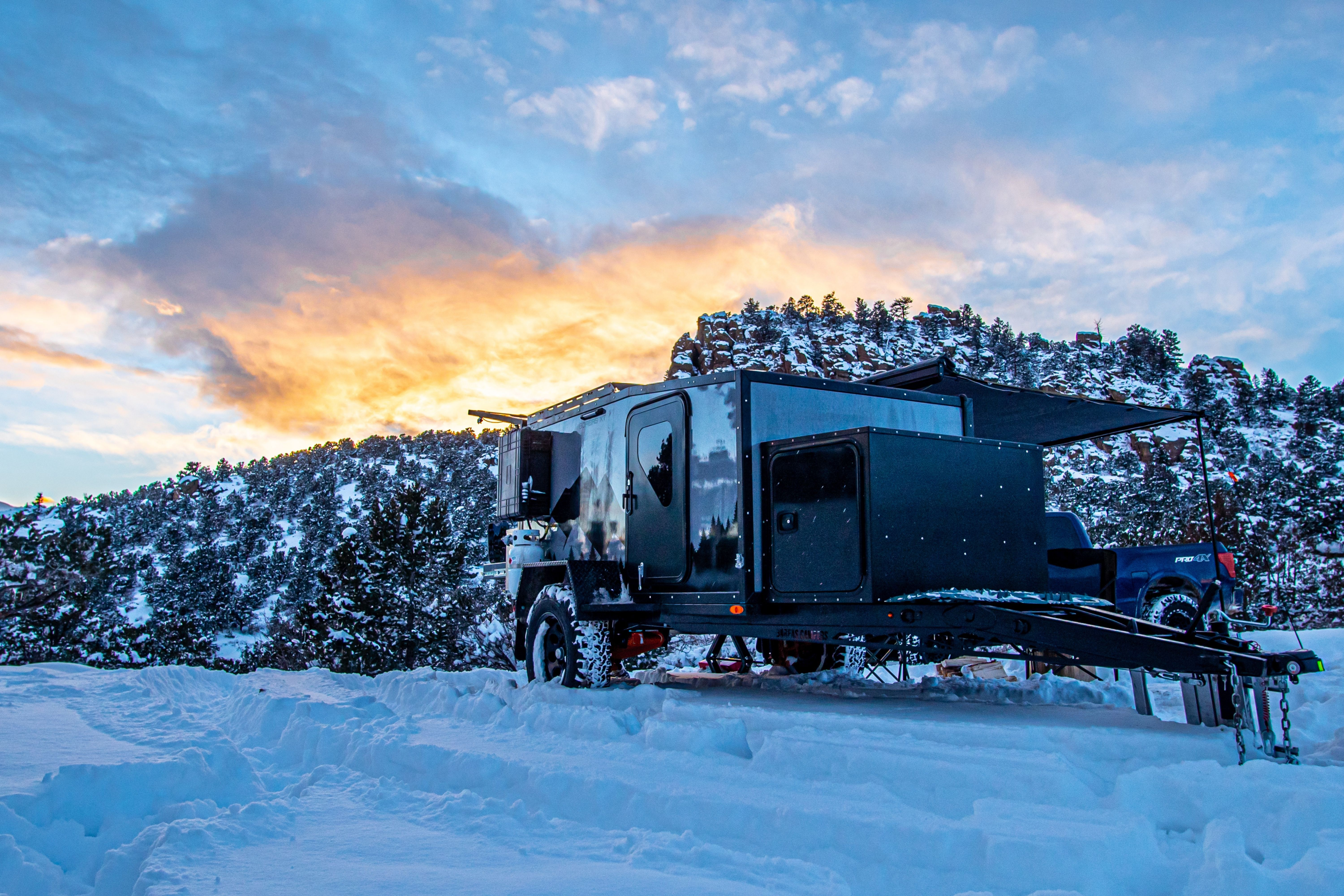 offroad camper trailer in the snow