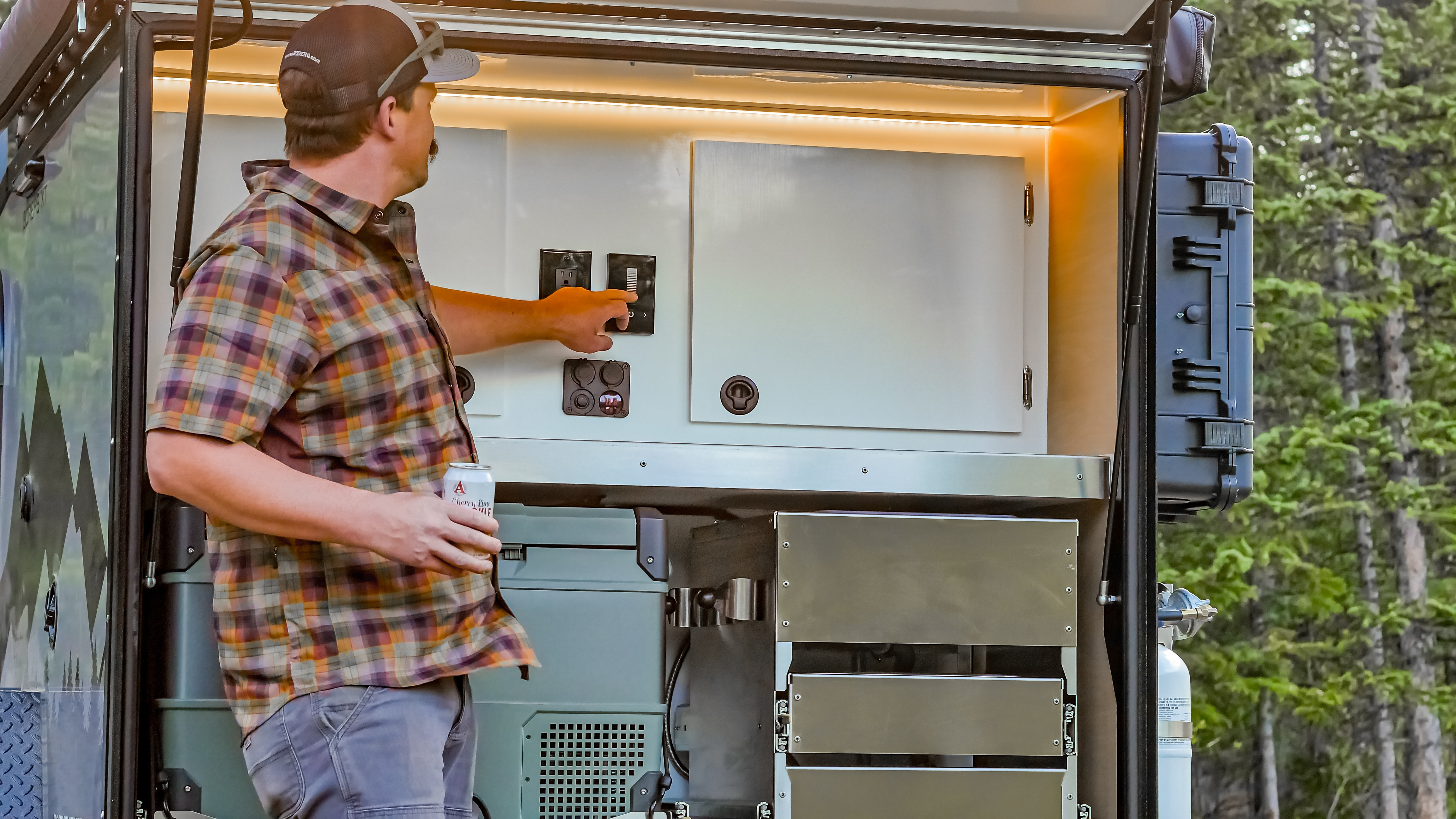 The galley kitchen of an off road camper